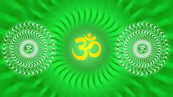 Rotující mandala se znakem Óm / Om / Ohm v jasných barvách zelené a žluté. Meditativní vzor rotace. Video