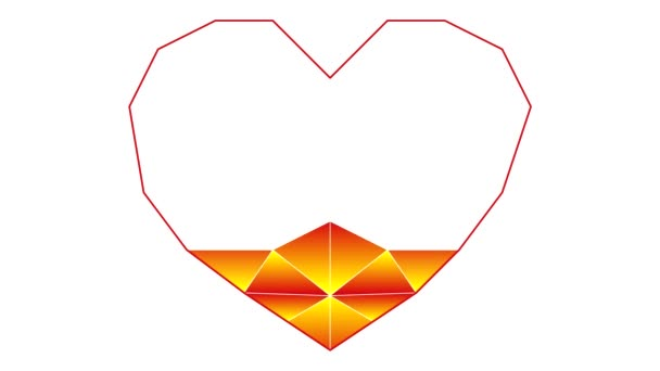 Process Drawing Heart Polygonal Technique Text Love You Symbol