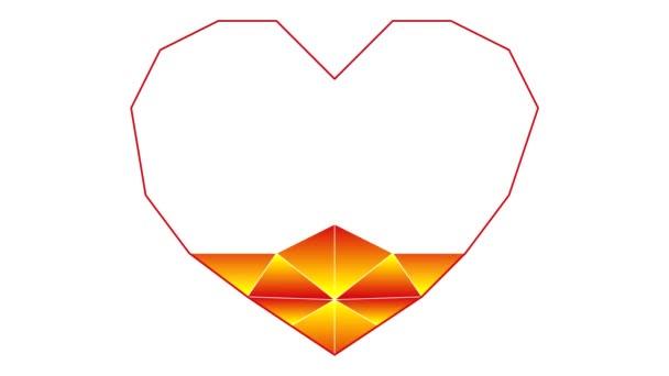 Proces čerpání srdce v polygonální technikou. Text, miluji tě, Symbol a metafora lásky. Video