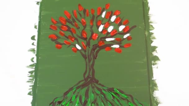 The process of drawing the painting: The Tree of Life. Energy painting. Fragment. Video fast.