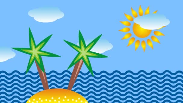 The tropical sea, palm trees and sun. Symbolic cartoon video. Clouds in blue sky.