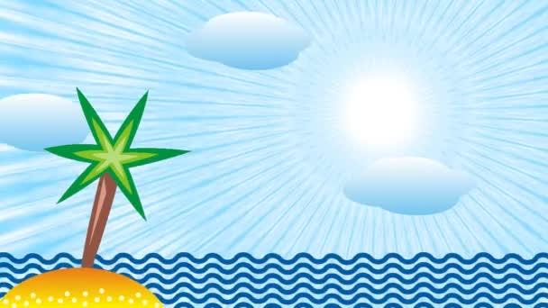 Landscape. Tropical sea, island, palm tree and sun. Symbolic cartoon video.