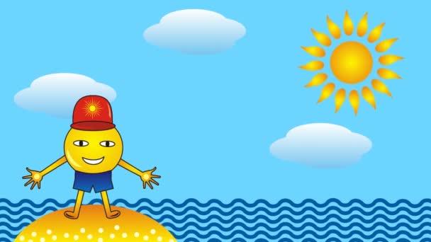 Uomo sorridente soleggiato che fa esercizi sulla spiaggia sullo sfondo del mare, del sole e delle nuvole. Cartone animato, videoarte.