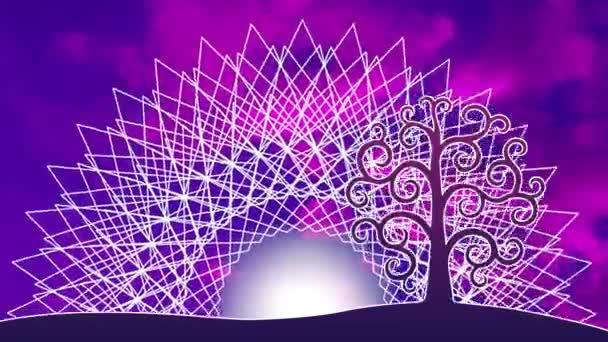 Ein durchbrochenes Mandala mit einem aum / om / ohm Zeichen gegen den Himmel in einer blauen und violetten Tönung. in der Mitte des Mandalas - die Sonnendrehung des Mandalas und die Bewegung der Wolken. Videokunst.