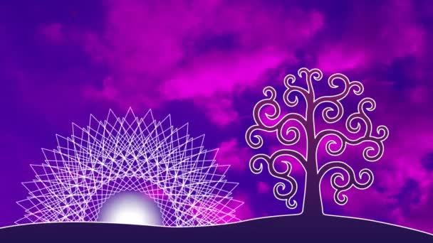 Ein durchbrochenes Mandala mit einem aum / om / ohm Zeichen gegen den Himmel in einer blauen und violetten Tönung. in der Mitte des Mandalas - die Sonnendrehung des Mandalas und die Bewegung der Wolken. Video.