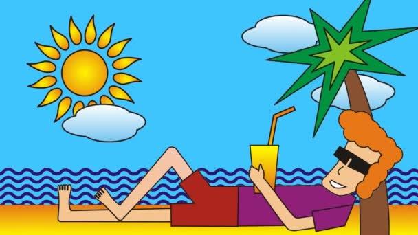 Kreslený muž leží na pláži u moře pod palmami. S obrazem.