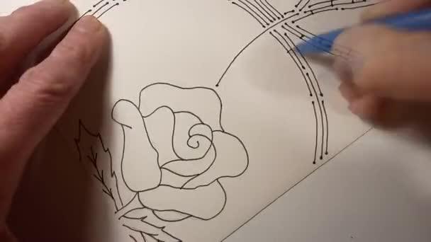 Gyors rajz egy képet - Rose-hónap, fekete Fémpalástos és színezés a egy filccel.