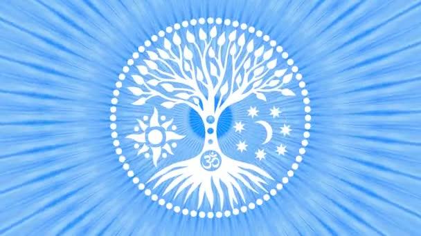 Strom života uprostřed mandaly v aureolu rotujících paprsků. Duchovní a posvátný symbol. Video umění. Screensaver. Plynulé opakování.