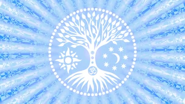 der Baum des Lebens in der Mitte des Mandalas in einem Heiligenschein rotierender Strahlen. spirituelles und heiliges Symbol. Videokunst. Bildschirmschoner.