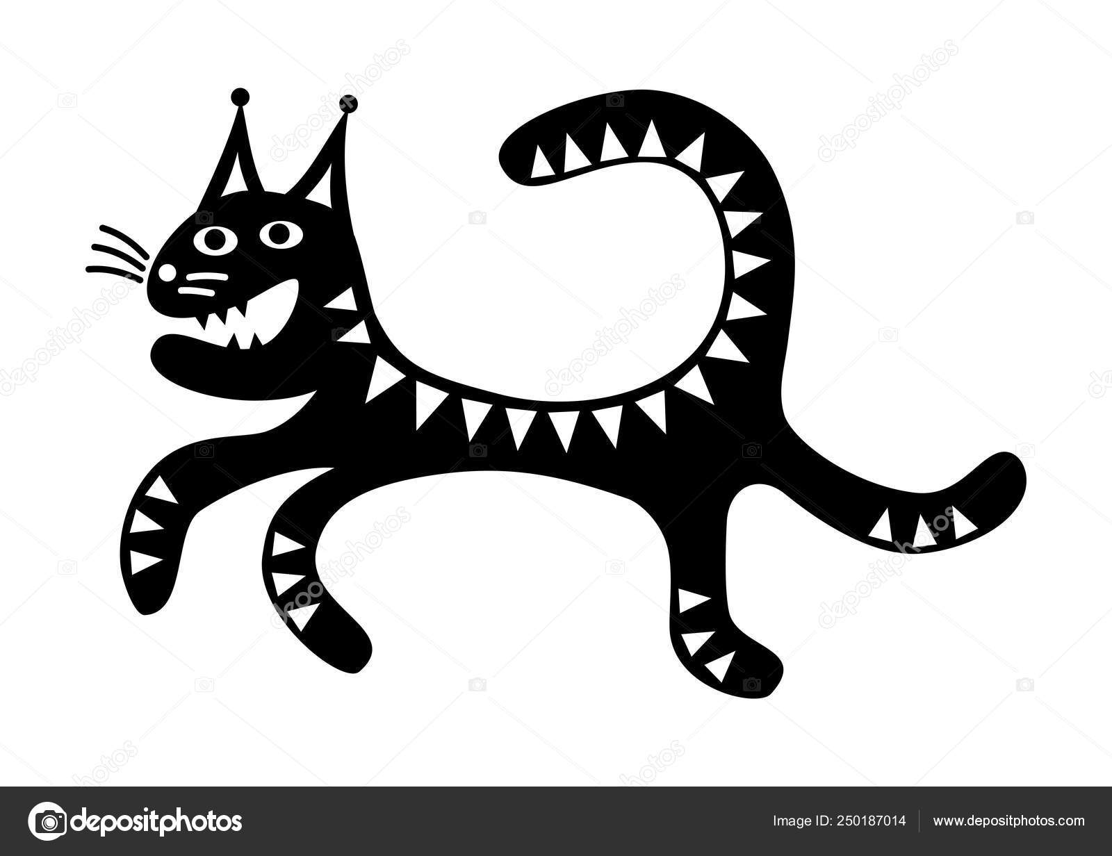 Drawings Crazy Black And White Running Cat Funny Cartoon Drawing Black White Crazy Vector Graphics Stock Vector C Alef88 250187014