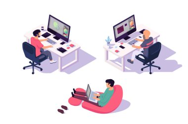 Isometric 3d office designers with businessman and computer.