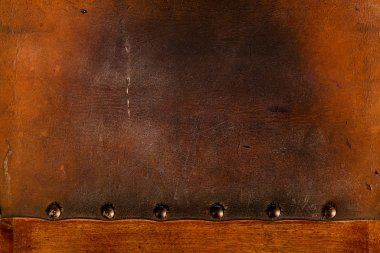 old weathered leather tacked full texture background