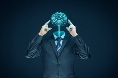 businessman representing artificial intelligence, data mining, machine and deep learning, neural networks and another modern computer technologies concepts