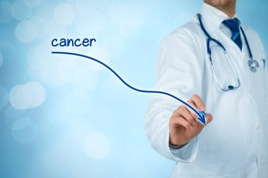 Doctor drawing descending graph of incidence of cancer