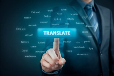 Online translator and languages e-learning course concept. Computer user press button with text translate and most important world languages.