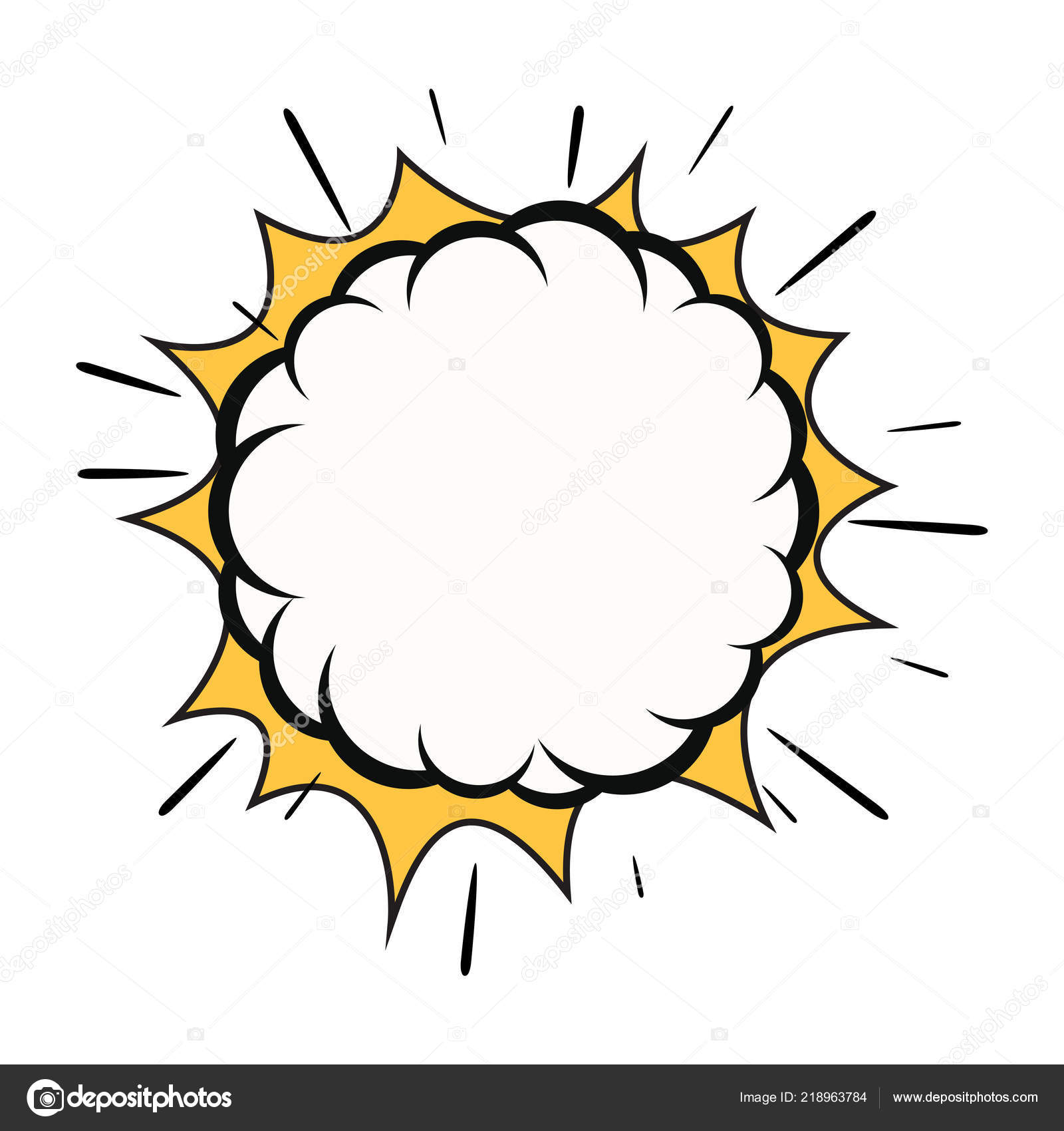 Vector Comic Explosion Isolated White Background Cartoon Bubble