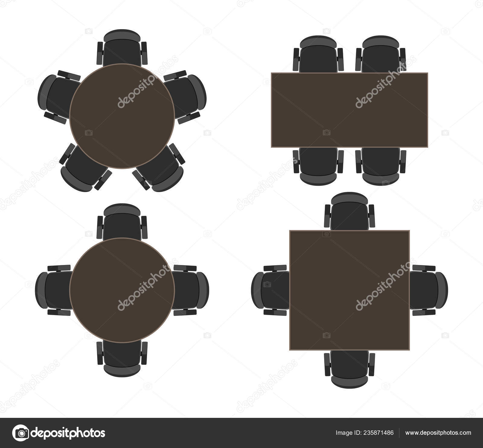 Vector Tables Discussion Meeting Isolated White Background ...