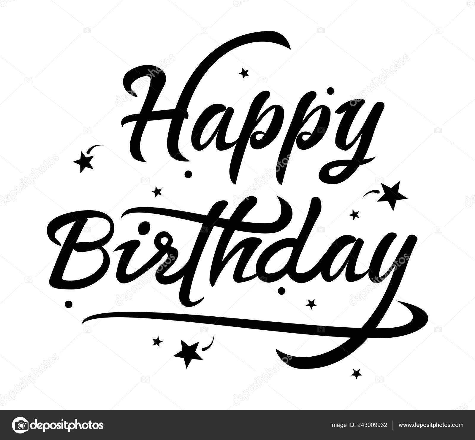 Vector black and white happy birthday text. greeting card lettering design.  birthday background illustration typography. wishing happy birthday