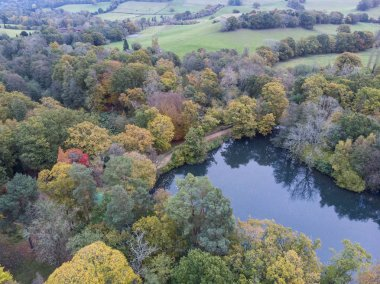 Beautiful aerial drone landscape image of stunning colorful vibrant Autumn Fall English countryside landscape
