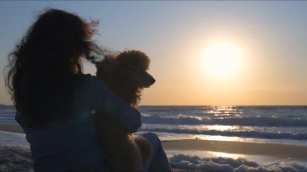 Žena se svým psem na písečné pláže. Konceptuální obrázek, svoboda, cestování a dovolená. Zpomalený pohyb