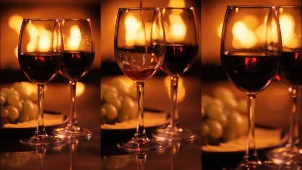 Vertikale Videos von zwei Rotweingläsern über dem Kamin-Hintergrund. Zeitlupe.