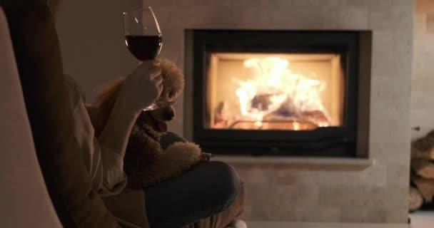 junge Frau mit Hund sitzt zu Hause am Kamin und trinkt einen Rotwein.