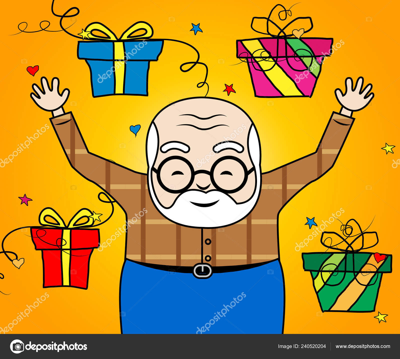 Happy Birthday Grandpa Gifts Surprise Greeting Grandad Best Wishes Grandfather Stock Photo