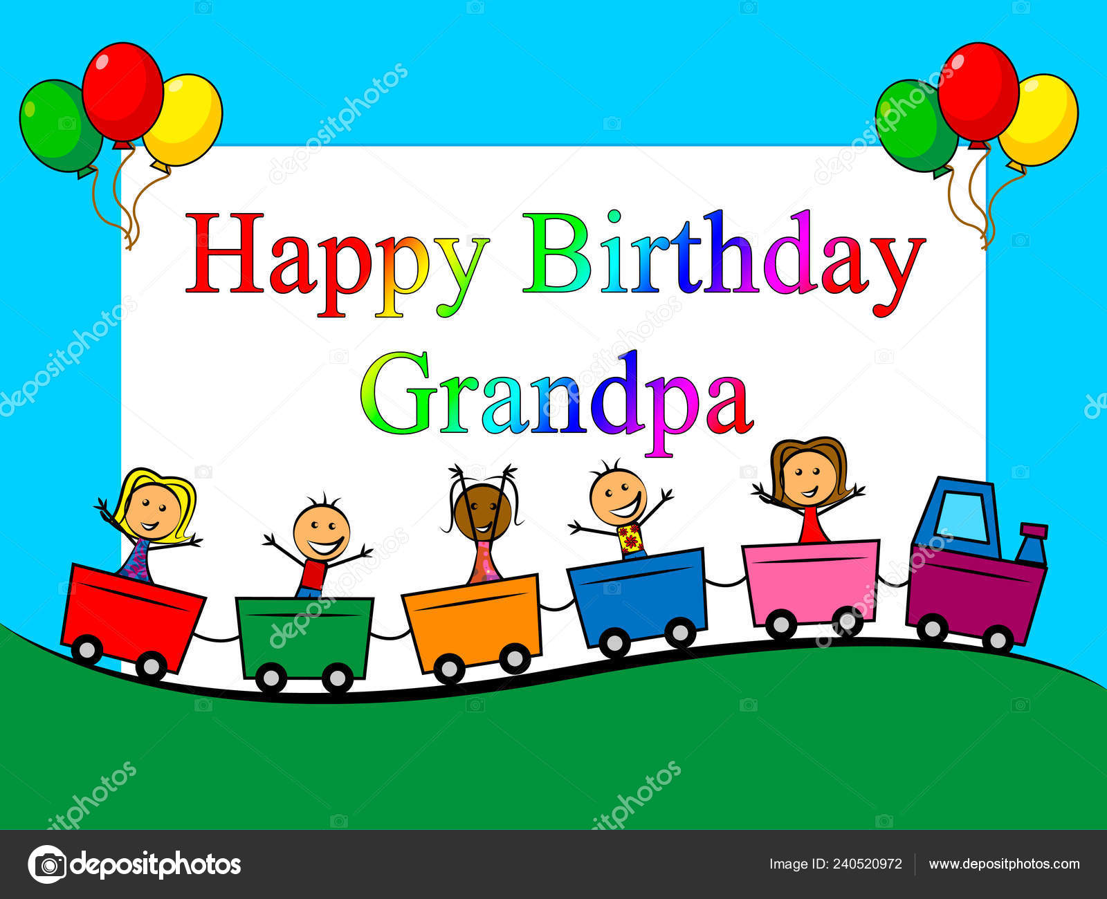 Happy Birthday Grandpa Card Surprise Greeting Grandad Best Wishes Grandfather Stock Photo