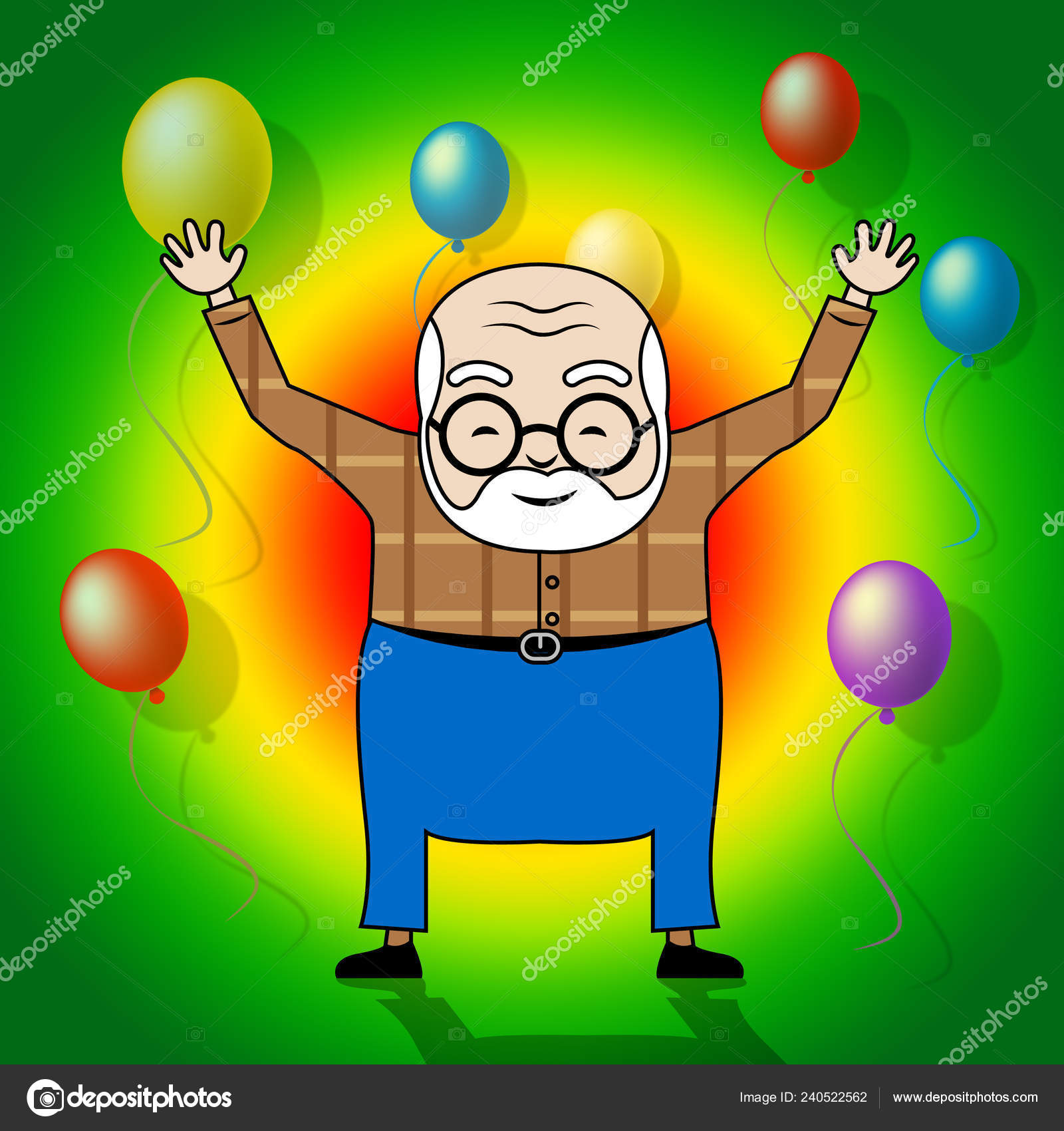 Happy Birthday Grandpa Balloons Surprise Greeting Grandad Best Wishes Grandfather Stock Photo