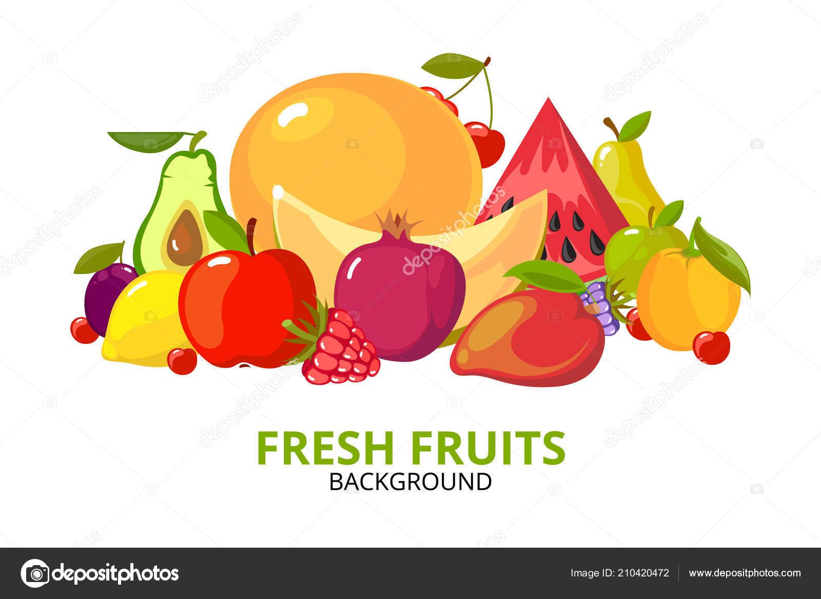 Dibujos Animados Fondo De Frutas Alimentos Saludables Coloridos