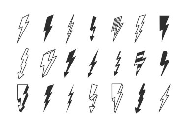 Lightning strike set. Flashes powerful in dark thunderstorm with dangerous thunderbolt charges. icon