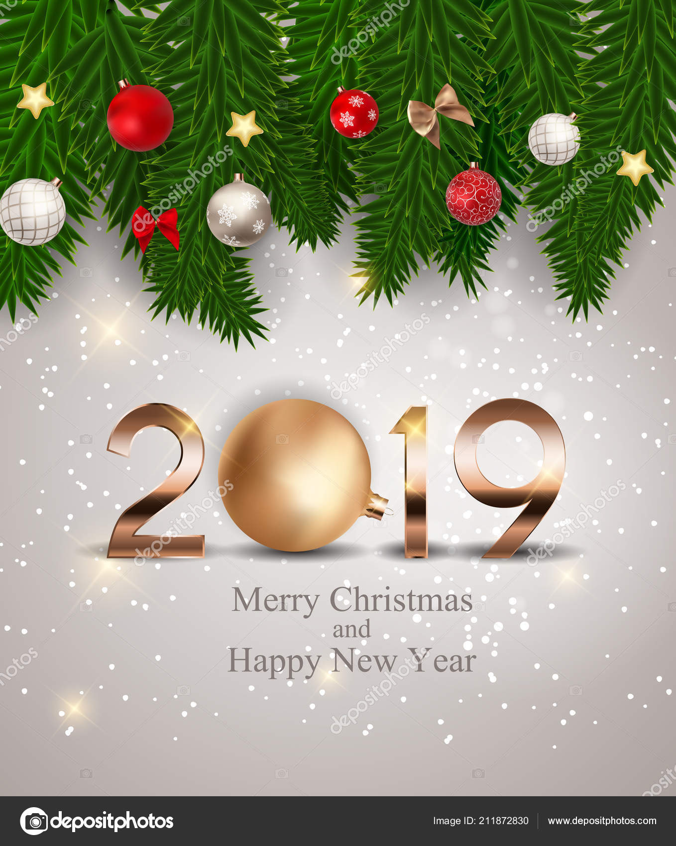 2019 new year background with christmas ball vector illustration eps10 vector by yganko