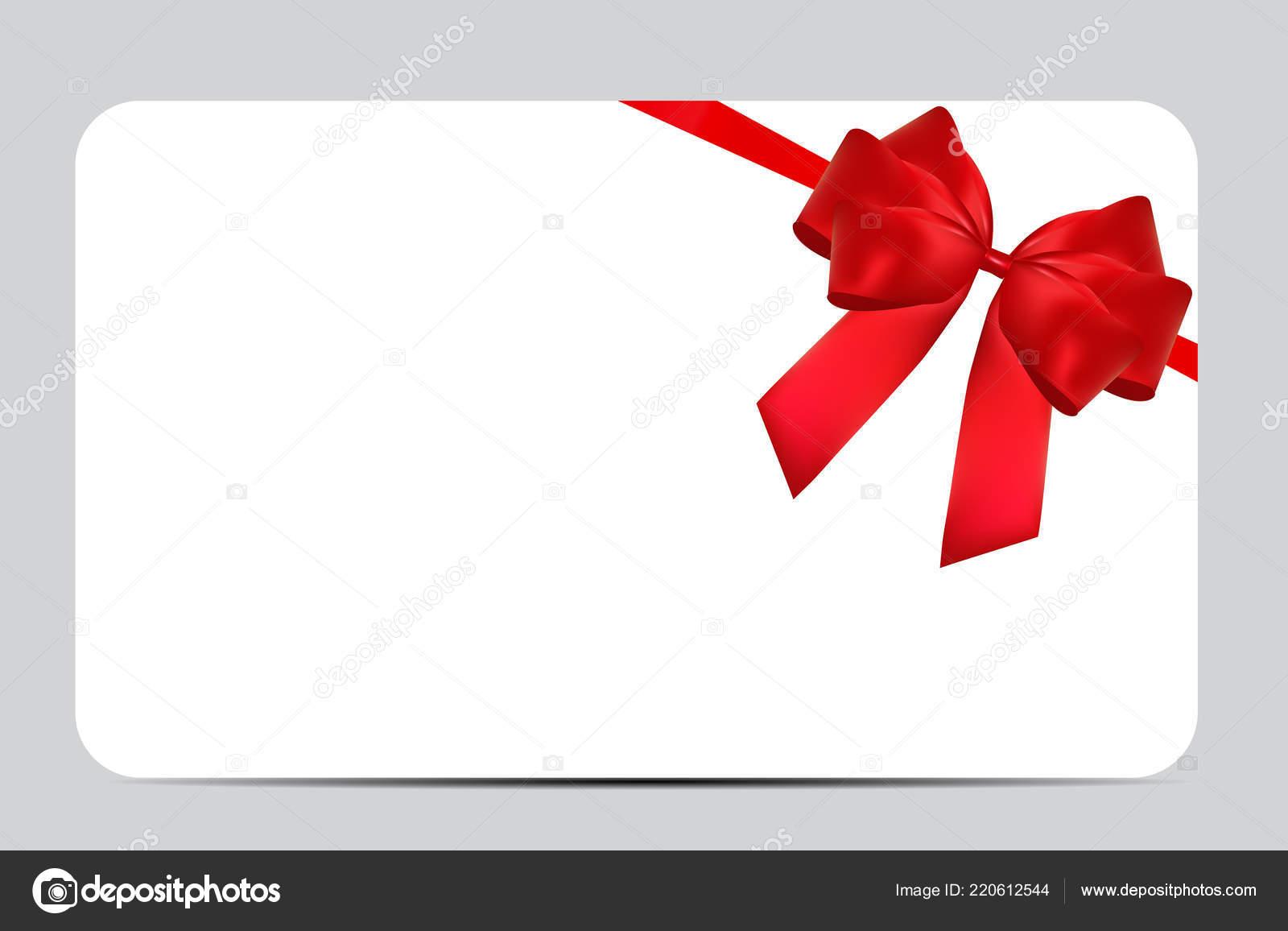 mod le de carte cadeau vide avec un arc rouge et ruban. Black Bedroom Furniture Sets. Home Design Ideas