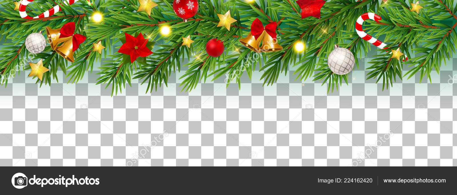 Christmas Transparent Background.Abstract Holiday New Year And Merry Christmas Border On