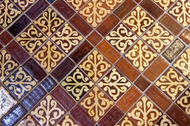 Medieval painted stone floor tiles inside Winchester Cathedral,