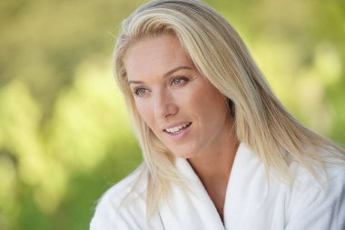Portrait of beautiful blond 40-year-old woman