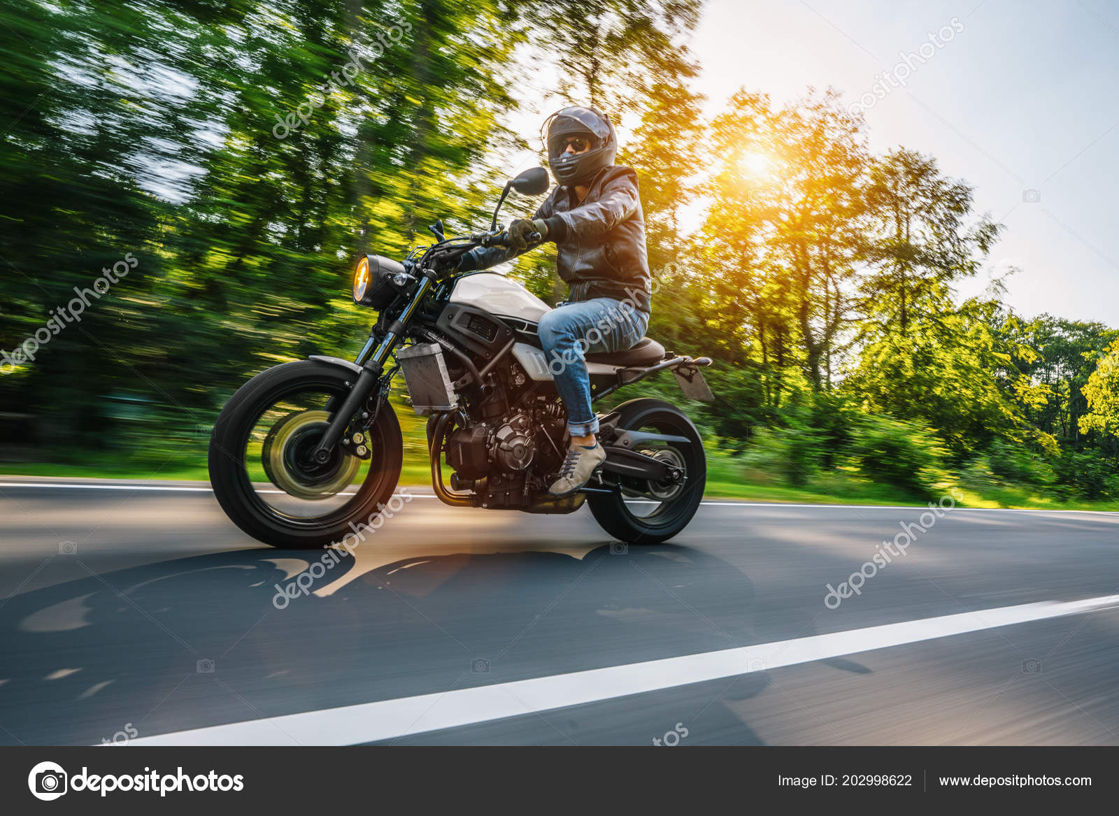 Modern Scrambler Motorbike Forest Road Riding Having Fun Driving Empty Stock Photo