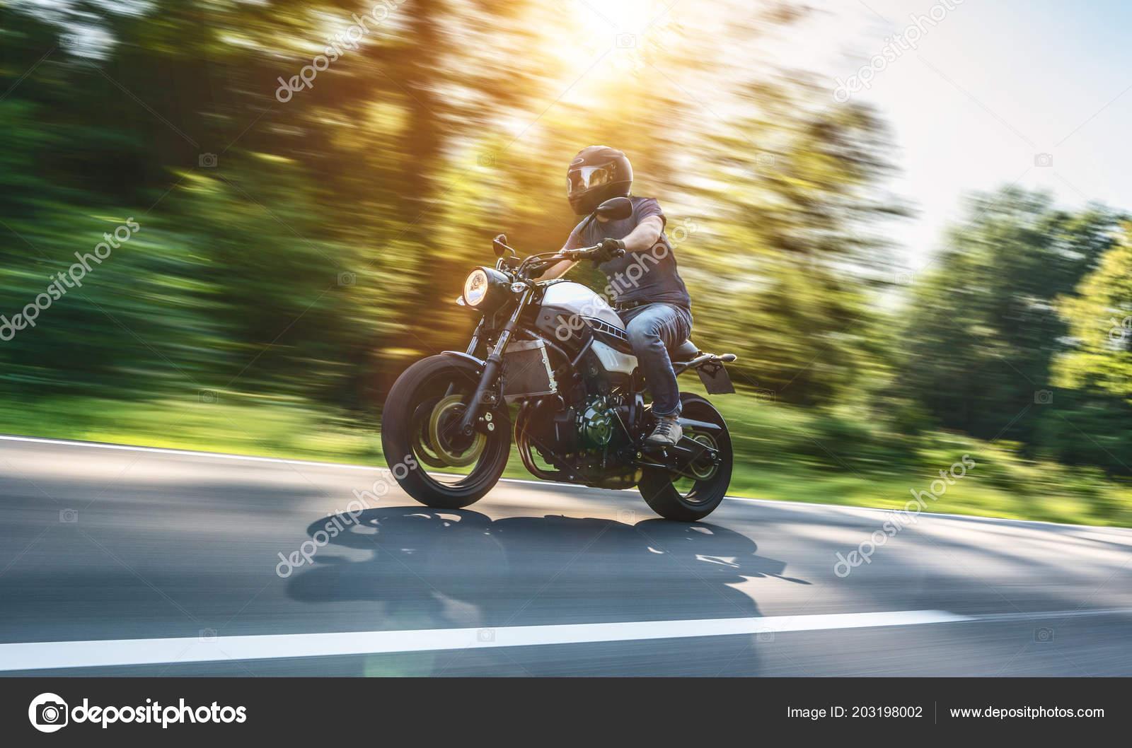 Modern Scrambler Motorbike Alpine Forest Road Fast Speed Riding Having Stock Photo