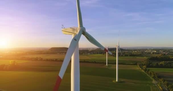 Antenna 4k / Ultra Hd - uccelli occhio vista sulla produzione di energia, energia eolica, turbina, mulino a vento al tramonto o allalba - energia pulita e rinnovabile