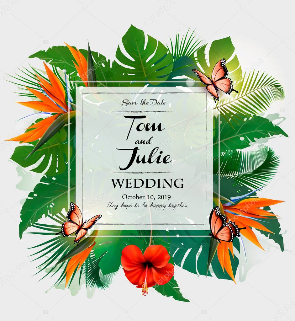 Wedding invitation desing with exotic leaves and butterflies. Vector