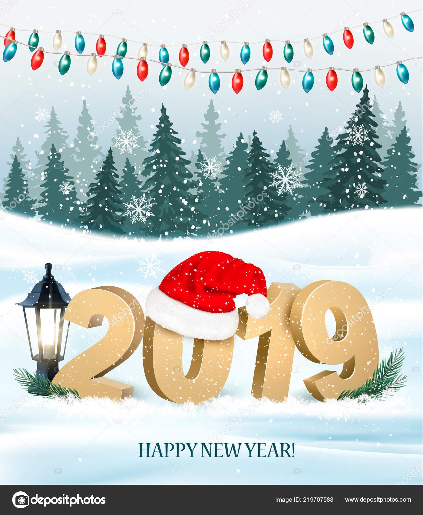 Weihnachten Urlaub 2019.Weihnachten Urlaub Hintergrund Mit 2019 Und Rote Weihnachtsmütze