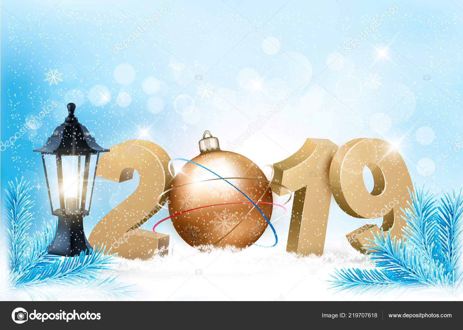 new year background 2019 ball vector stock vector