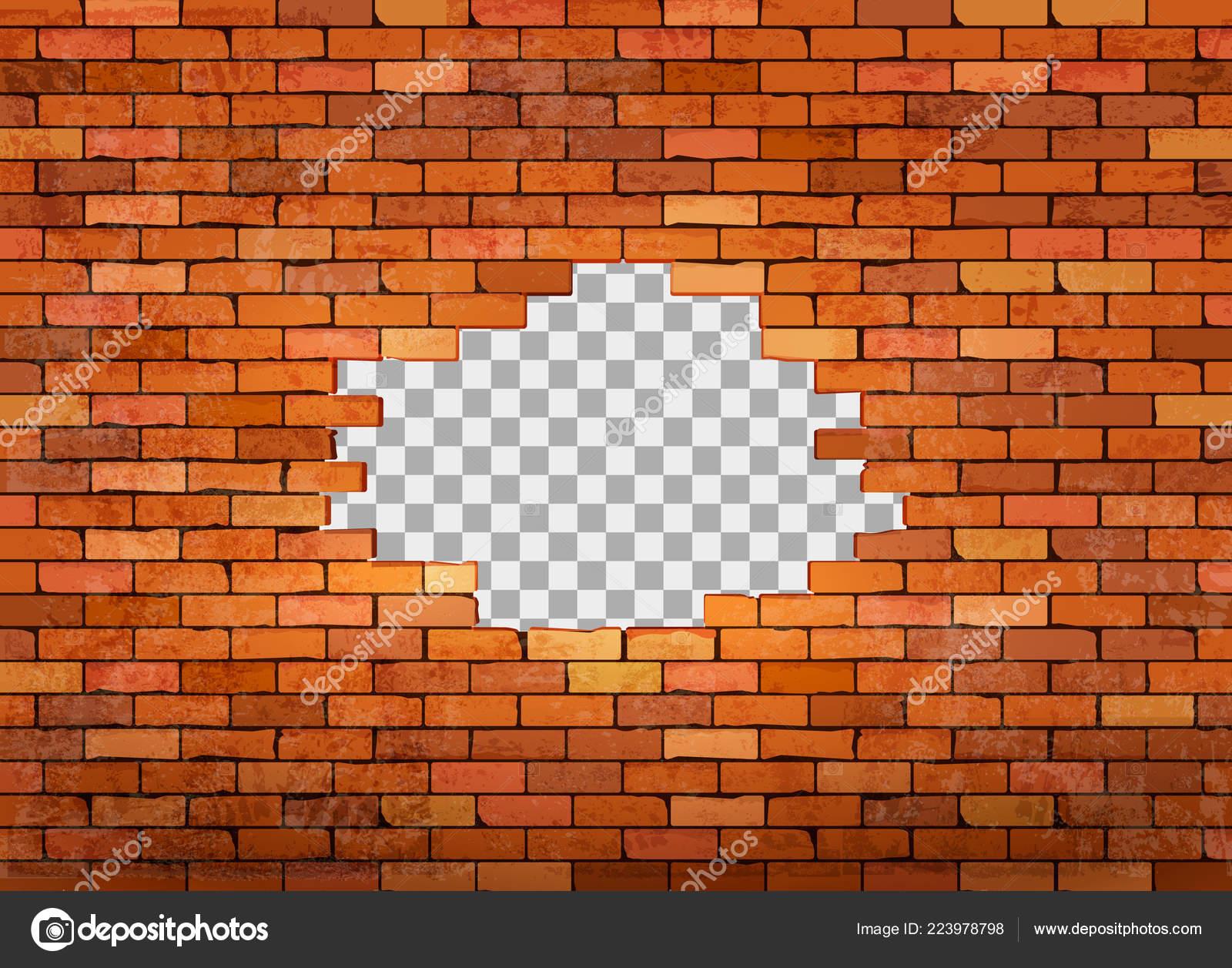 Vintage Red Brick Wall Frame Transparent Background Vector Stock
