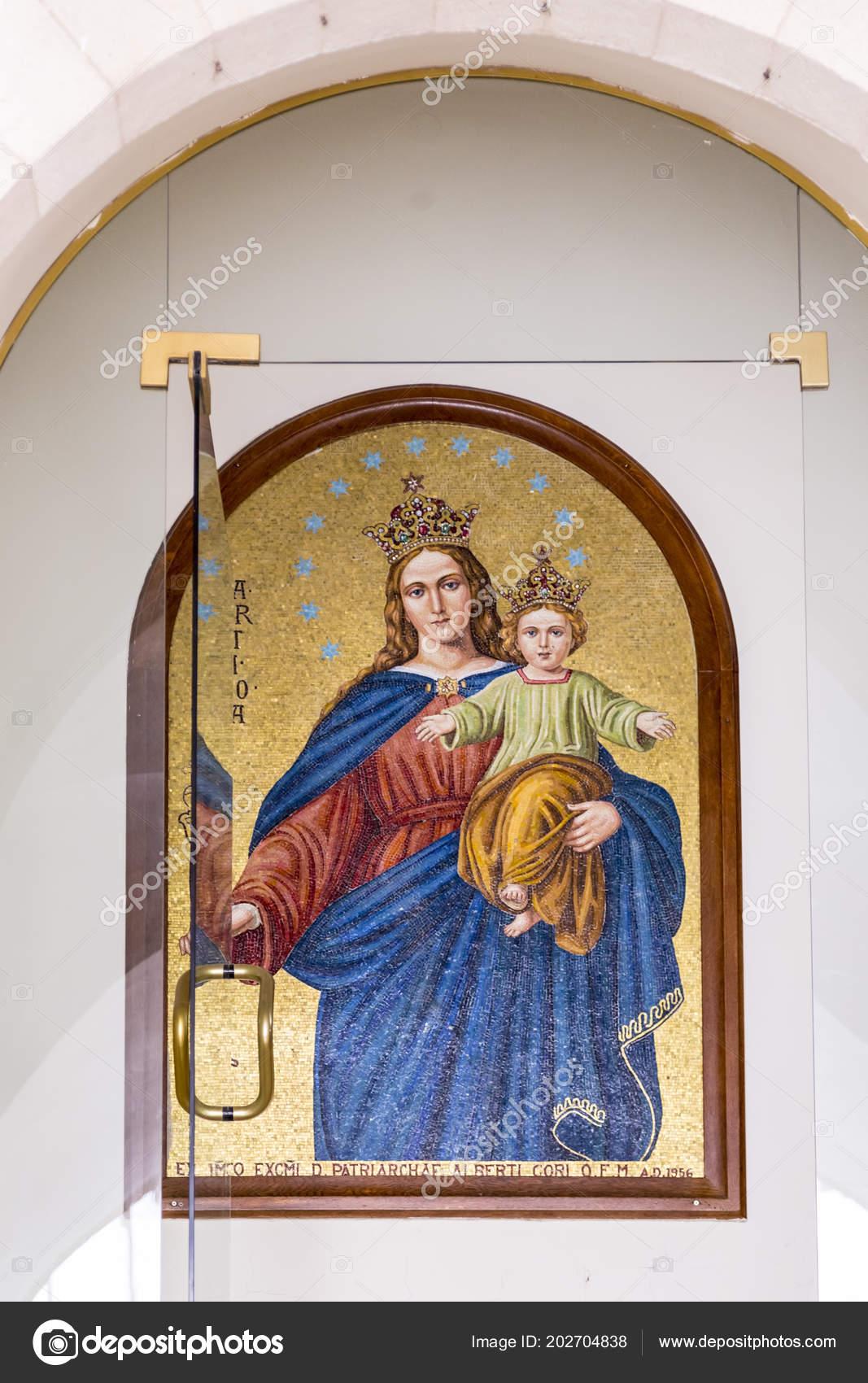 Jerusalén Israel Junio 2018 Mosaico Dorado Del Niño Jesús Virgen