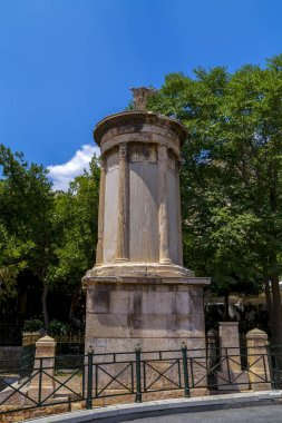 Choragic Monument of Lysicrates near the Acropolis of Athens was erected by the choregos Lysicrates in Athens, Greece
