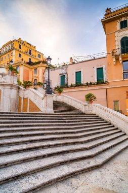 Spanish Steps at Piazza di Spagna and Trinita dei Monti church