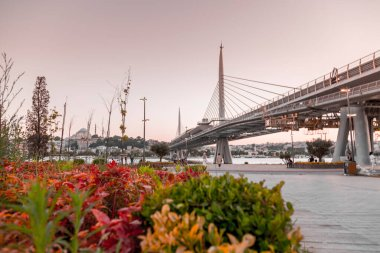 Istanbul, Turkey - July 29, 2020: Golden Horn coastal view from the new Metro Bridge. The bridge connects Ayvansaray and Sishane stations through Halic.