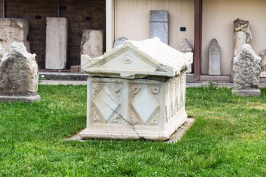 KONYA, TURKEY - MAY 7, 2018: ancient sarcophagus on outdoor yard of Konya Archaeological Museum. The Gallery is a state museum, it was established in 1901, its present location from 1962