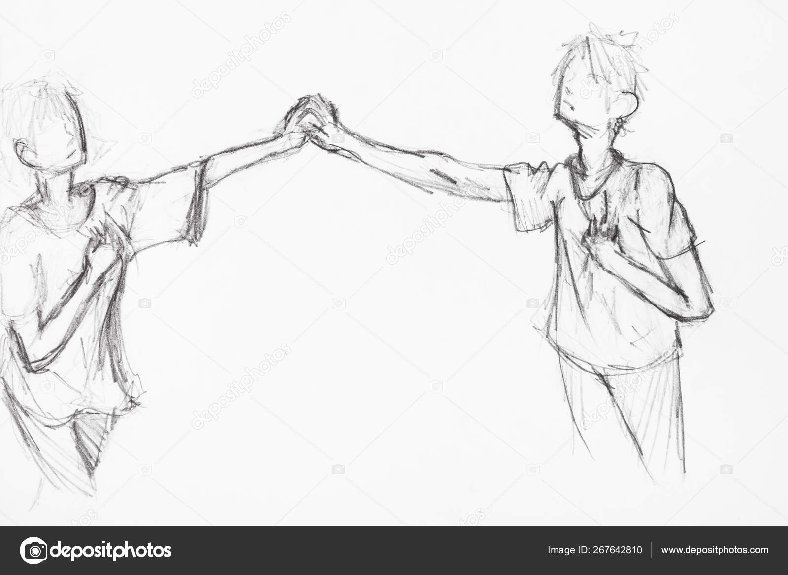 Sketch of couple holding hands by black pencil stock photo