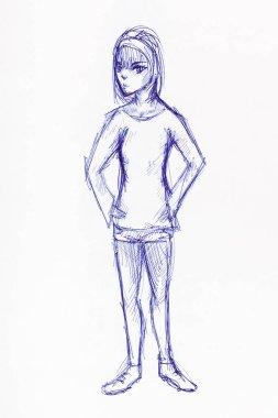 girl in sportswear hand drawn by blue ink